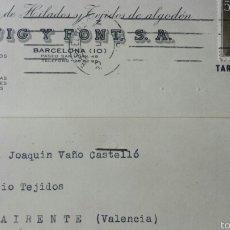 Cartas comerciales: TARJETA DE AVISO GIRO BANCO PUIG Y FONT SA HILADOS Y TEJIDOS 1957. Lote 56938081