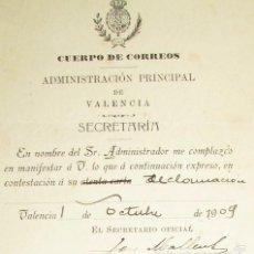 Cartas comerciales: CUERPO DE CORREOS 1909 - VALENCIA - ADMINISTRACION PRINCIPAL. Lote 56964269