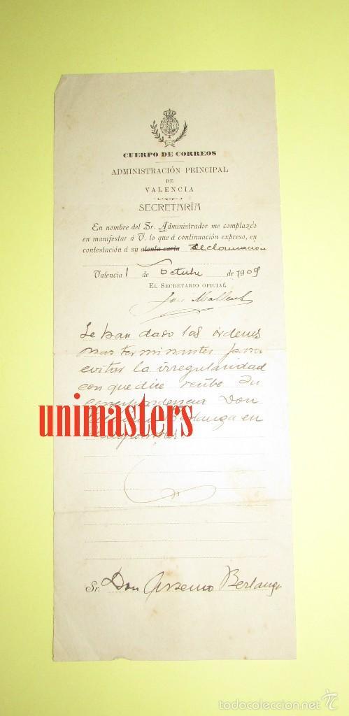 Cartas comerciales: CUERPO DE CORREOS 1909 - VALENCIA - ADMINISTRACION PRINCIPAL - Foto 2 - 56964269