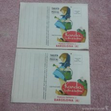 Cartas comerciales: DOS TARJETAS POSTALES KANDA * LA FLOR DE LAS FLORES * SEMILLAS Y BULBOS DE FLORES ( BARCELONA ). Lote 56974356