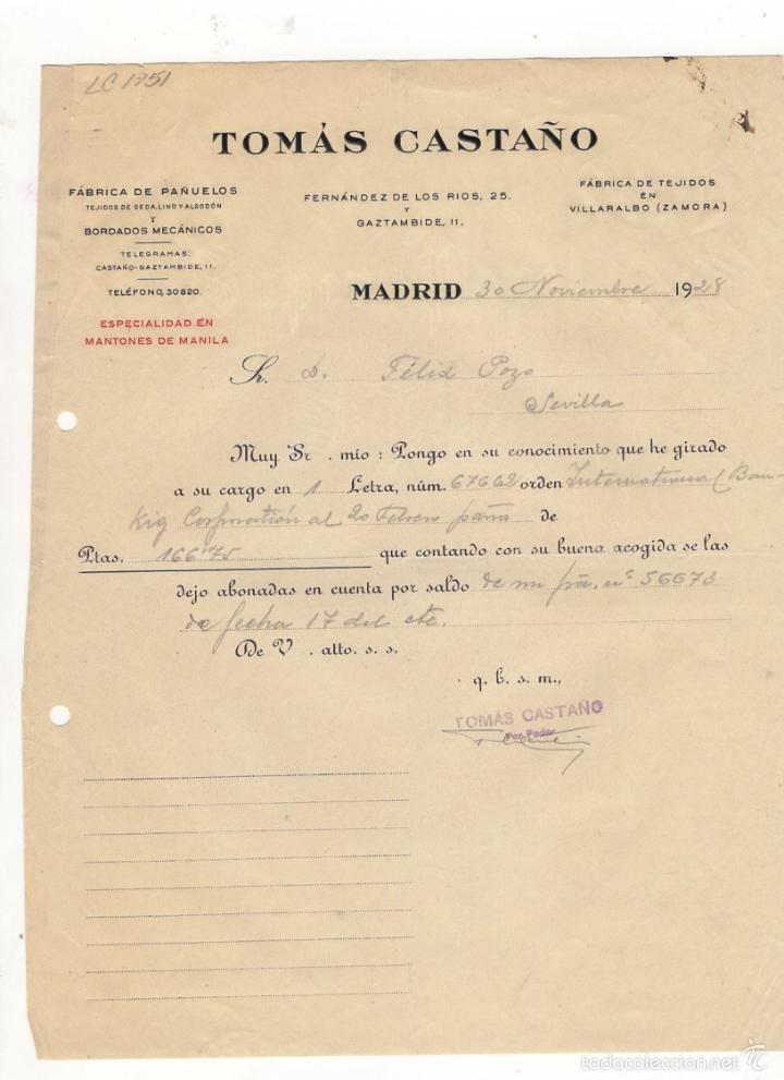 CARTA COMERCIAL. TOMAS CASTAÑO, FABRICA DE PAÑUELOS Y BORDADOS MECANICOS, MADRID, 1928. (Coleccionismo - Documentos - Cartas Comerciales)