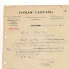 Cartas comerciais: CARTA COMERCIAL. TOMAS CASTAÑO, FABRICA DE PAÑUELOS Y BORDADOS MECANICOS, MADRID, 1928.. Lote 57070289