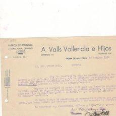 Cartas comerciales: CARTA COMERCIAL. A. VALLS VALLERIOLA E HIJOS, FABRICA DE CADENAS, PALMA DE MALLORCA, 1946.. Lote 57077399
