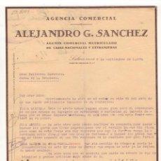 Cartas comerciales: CARTA COMERCIAL. ALEJANDRO G. SANCHEZ, AGENTE COMERCIAL, SALAMANCA, 1927.. Lote 57272959