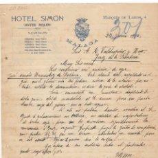 Cartas comerciales: CARTA COMERCIAL. HOTEL SIMON, MALAGA, 1916.. Lote 57301277