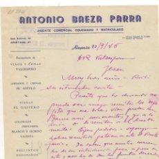Cartas comerciales: CARTA COMERCIAL. ANTONIO BAEZA PARRA, AGENTE COMERCIAL COLEGIADO, ALMANSA, 1946.. Lote 57305063