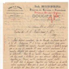 Cartas comerciales: CARTA COMERCIAL. LA MODERNA, FABRICA DE ESPEJOS Y BISELADOS, SAN SEBASTIAN, 1913.. Lote 57335696
