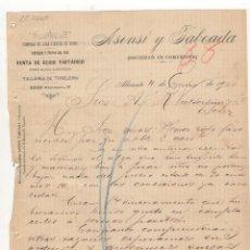 Cartas comerciales: CARTA COMERCIAL. ASENSI Y TABOADA, COMPRAS DE LIAS O HECES DE VINOS, ALICANTE, 1900.. Lote 57335807