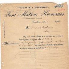 Cartas comerciales: CARTA COMERCIAL. FONT MATHEU HERMANOS, INDUSTRIA PAPELERA, BARCELONA, 1893.. Lote 57335877