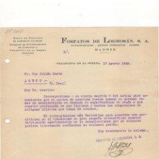 Cartas comerciales: CARTA COMERCIAL. FOSFATOS DE LOGROSAN, S.A.,MINAS DE FOSFATOS, VILLANUEVA SERENA, 1943.. Lote 172685815