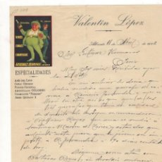 Cartas comerciales: CARTA COMERCIAL. VALENTIN LOPEZ, ALBACETE, 1926.. Lote 57556792