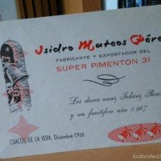 Cartas comerciales: SUPER PIMENTON. CUACOS DE LA VERA, CACERES. 1966. Lote 57592276