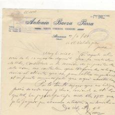 Cartas comerciales: CARTA COMERCIAL. ANTONIO BAEZA PARRA, AGENTE COMERCIAL COLEGIADO, ALMANSA, 1950.. Lote 57605243