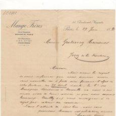 Cartas comerciales: CARTA COMERCIAL. MANGE FRERES, PARIS, 1893.. Lote 57632911