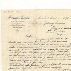 Cartas comerciales: CARTA COMERCIAL. MANGE FRERES, PARIS, 1893.. Lote 57632920