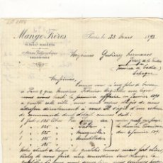 Cartas comerciales: CARTA COMERCIAL. MANGE FRERES, PARIS, 1893.. Lote 57632929