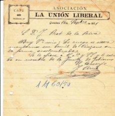 Cartas comerciales: CARTA COMERCIAL DE CAFÉ ASOCIACIÓN LA UNIÓN LIBERAL DE GRANOLLERS -BARCELONA - -1921-. Lote 57803811