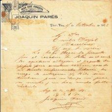 Cartas comerciales: CARTA COMERCIAL DE GRAN CAFE CONGESTA DE JOAQUIN PARÉS - PORTBOU -GIRONA- --1923---. Lote 57811883