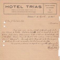Cartas comerciales: CARTA COMERCIAL HOTEL TRÍAS DE PALAMÓS -GIRONA- ---1921---. Lote 57812016