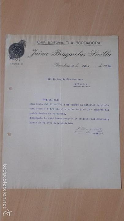 ANTIGUA CARTA COMERCIAL CASA EDITORIAL LA BORDADORA BRUGAROLAS SIVILLA BARCELONA (Coleccionismo - Documentos - Cartas Comerciales)