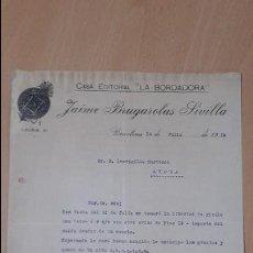 Cartas comerciales: ANTIGUA CARTA COMERCIAL CASA EDITORIAL LA BORDADORA BRUGAROLAS SIVILLA BARCELONA. Lote 57835506