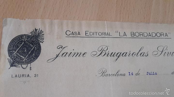 Cartas comerciales: ANTIGUA CARTA COMERCIAL CASA EDITORIAL LA BORDADORA BRUGAROLAS SIVILLA BARCELONA - Foto 2 - 57835506