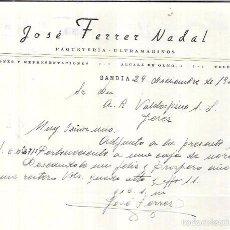Cartas comerciales: CARTA COMERCIAL. JOSÉ FERRER NADAL. PAQUETERIA-ULTRAMARINOS. GANDIA, 1954.. Lote 57880907