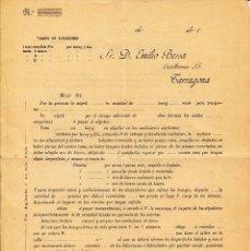 Cartas comerciales: CARTA COMERCIAL TARRAGONA- CONTRATO ALQUILERES DE BOCOYS DE VINO -PRINCIPIOS SIGLO XX -EMILIO BESSA. Lote 57935280