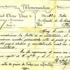 Cartas comerciales: CARTA COMERCIAL -MEMORANDUM DE RAFAEL OLCINA PAYÁ EN ALCOI -ALICANTE---1919---. Lote 57998170