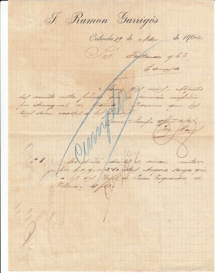 CARTA COMERCIAL DE J.RAMÓN GARRIGÓS EN ORIHUELA -ALICANTE- ---1902---- (Coleccionismo - Documentos - Cartas Comerciales)