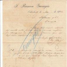 Cartas comerciais: CARTA COMERCIAL DE J.RAMÓN GARRIGÓS EN ORIHUELA -ALICANTE- ---1902----. Lote 57999152