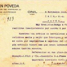 Cartas comerciales: CARTA COMERCIAL DE ALMACEN DE DROGAS J. JUAN POVEDA EN ONIL -ALICANTE- 1923. Lote 57999808