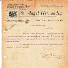 Cartas comerciales: CARTA COMERCIAL DE VELOCÍPEDOS JUGUETE DE ANGEL HERNANDEZ EN XÀTIVA -VALENCIA- 1920----VER DORSO---. Lote 58007006