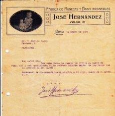 Cartas comerciales: CARTA COMERCIAL DE FABRICA DE MUÑECAS JOSÉ HERNANDEZ EN JATIVA-XÀTIVA -VALENCIA- 1925. Lote 58007126