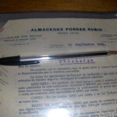 Cartas comerciales: ALMACENES PORRAS RUBIO, COLONIALES. CONTRATO DE REPRESENTACION. CORDOBA 1930.. Lote 58011574