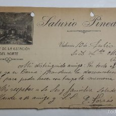 Cartas comerciales: ANTIGUA CARTA COMERCIAL BUFFET ESTACIÓN DEL NORTE VALENCIA SAURIO PINEDO. Lote 58464236