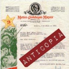 Cartas comerciales: BONITA CARTA DE LA METRO- GOLDWYN - MAYER REDACTADA EN SEVILLA EN 1954. MIDE 27 X 21,5 CM. . Lote 58470106