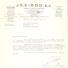 Cartas comerciales: CARTA COMERCIAL. J.G. GIROD S.A. FABRICA Y ALMACEN DE RELOJERIA. MADRID AÑO 1963.. Lote 58478859