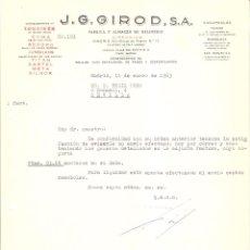 Cartas comerciales: CARTA COMERCIAL. J.G. GIROD S.A. FABRICA Y ALMACEN DE RELOJERIA. MADRID AÑO 1963.. Lote 58479105