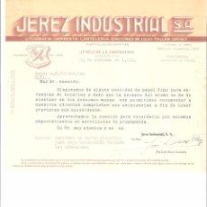 Cartas comerciales: CARTA COMERCIAL. JEREZ INDUSTRIAL S.A. LITOGRAFIA IMPRENTA. JEREZ DE LA FRA. AÑO 1951.. Lote 58542585