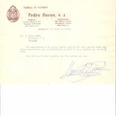 Cartas comerciales: CARTA COMERCIAL. PEDRO DURAN S.A. FABRICA DE PLATERIA. MADRID AÑO 1963.. Lote 58578337
