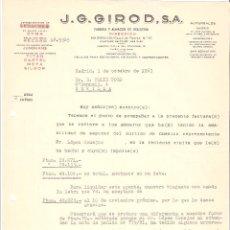 Cartas comerciales: CARTA COMERCIAL. J. G. GIROD S.A RELOJERIA. MADRID. 1963.. Lote 58578841