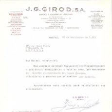 Cartas comerciales: CARTA COMERCIAL. J.G. GIROD S.A. FABRICA Y ALMACEN DE RELOJERIA. MADRID AÑO 1963.. Lote 58578861