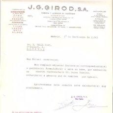 Cartas comerciales: CARTA COMERCIAL. J.G. GIROD S.A. FABRICA Y ALMACEN DE RELOJERIA. MADRID AÑO 1963.. Lote 58578877