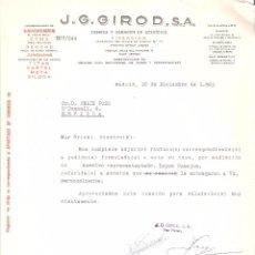 Cartas comerciales: CARTA COMERCIAL. J.G. GIROD S.A. FABRICA Y ALMACEN DE RELOJERIA. MADRID AÑO 1963.. Lote 58578889