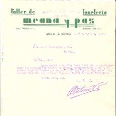 Cartas comerciales: CARTA COMERCIAL. TALLER DE MEANA Y PAZ TONELERIA. JEREZ DE LA FRONTERA. 1939.. Lote 58586092