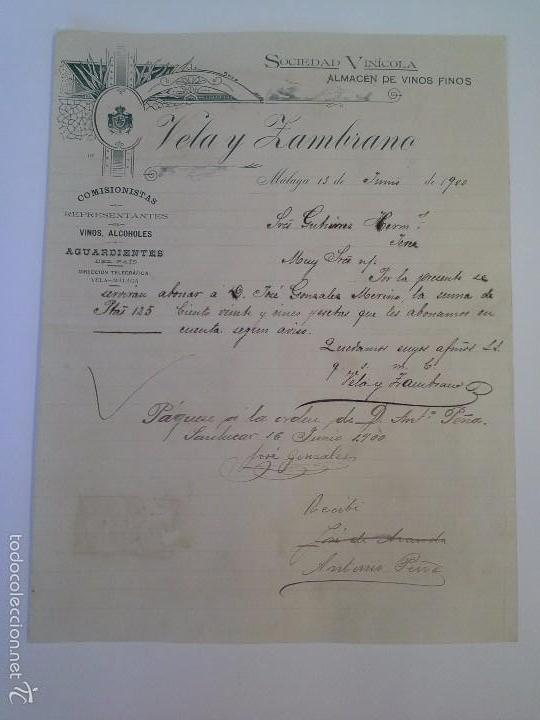 SOCIEDAD VINÍCOLA ALMACÉN DE VINOS FINOS VELA Y ZAMBRANO. MÁLAGA 1900. (Coleccionismo - Documentos - Cartas Comerciales)