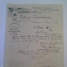 Cartas comerciales: SOCIEDAD VINÍCOLA ALMACÉN DE VINOS FINOS VELA Y ZAMBRANO. MÁLAGA 1900.. Lote 59493771