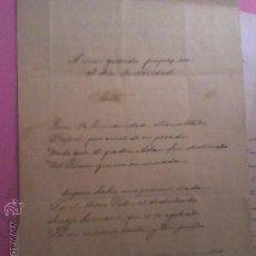 Cartas comerciales: RICARDO MUR SANCHO MANUSCRITO SONETO FIRMAD Y FECHADO EN VALENCIA 25 DICIEMBRE 1893. Lote 23287686