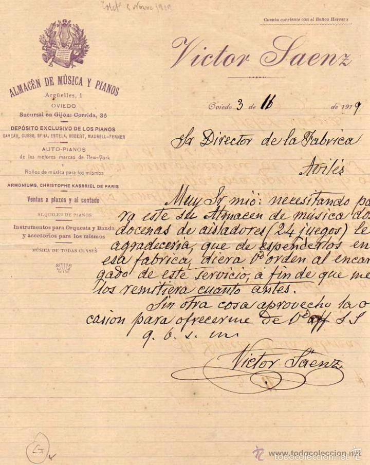 VICTOR SAENZ ALMACÉN DE MÚSICA Y PIANOS. OVIEDO. FIRMA PROPIETARIO. ASTURIAS. (Coleccionismo - Documentos - Cartas Comerciales)